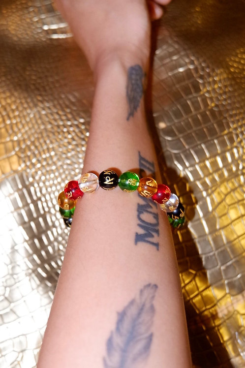 Buddhism Mantra in Gold - Main Four Colors Bracelet