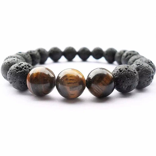 Charged Powerful Pure Lava Stone bracelet 100% from volcano with Tiger Eye