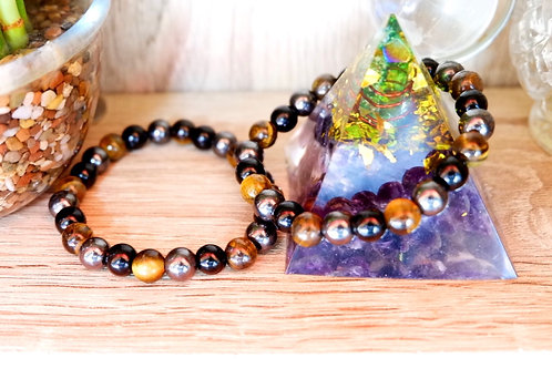 Grounding and Protection Bracelet ( Tiger's eye, onyx and Hematite )