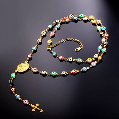 LuckSilver Rosary with Rainbow Evil Eye protection. Blessings&Protection