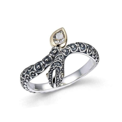 Kundalini White Topaz Ring 925 Silver