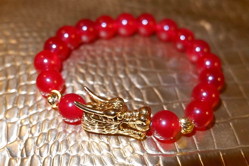 Hong Long Dragon's Bracelet ( Gold and Red )