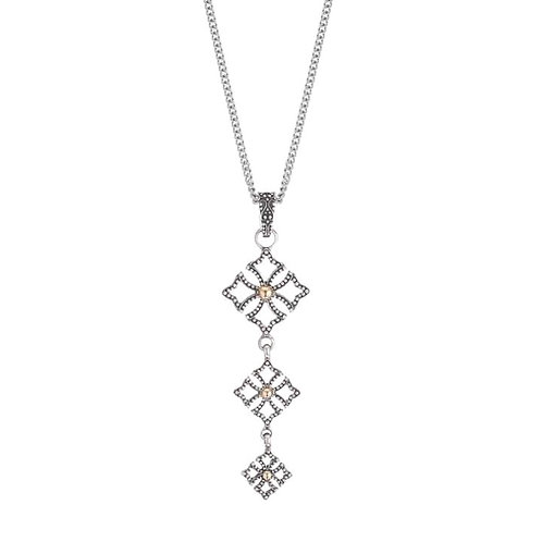O Cross DOT Silver Pendant Necklace with 14k dot Gold style