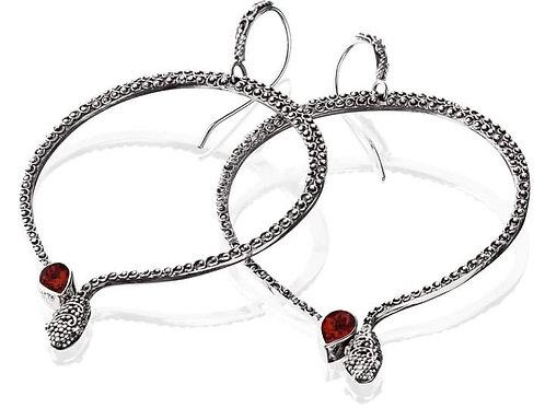 Garnet Kundalini Serpents Earrings 925 Silver