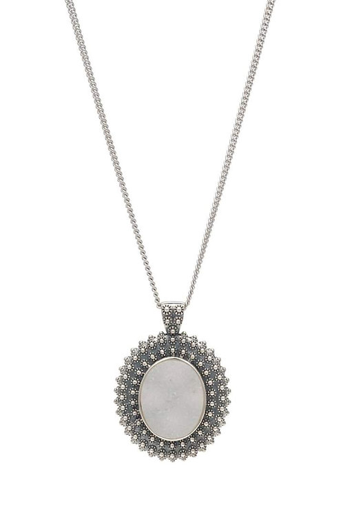O'DOT Necklace with 925 Silver and White Topaz