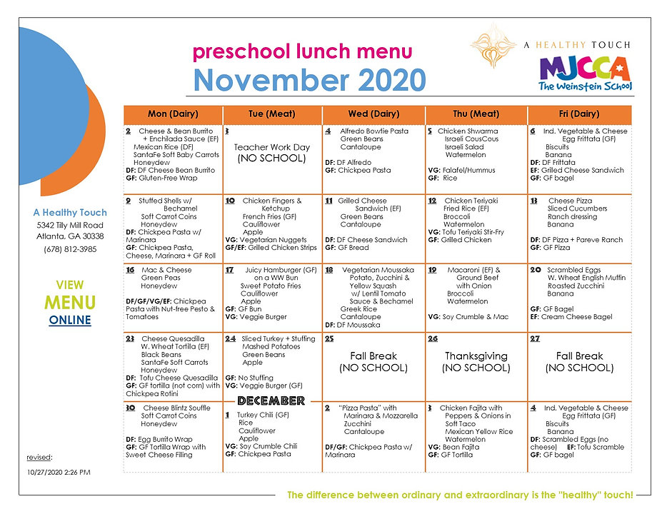 11. NOVEMBER 2020 - Preschool Lunch Menu