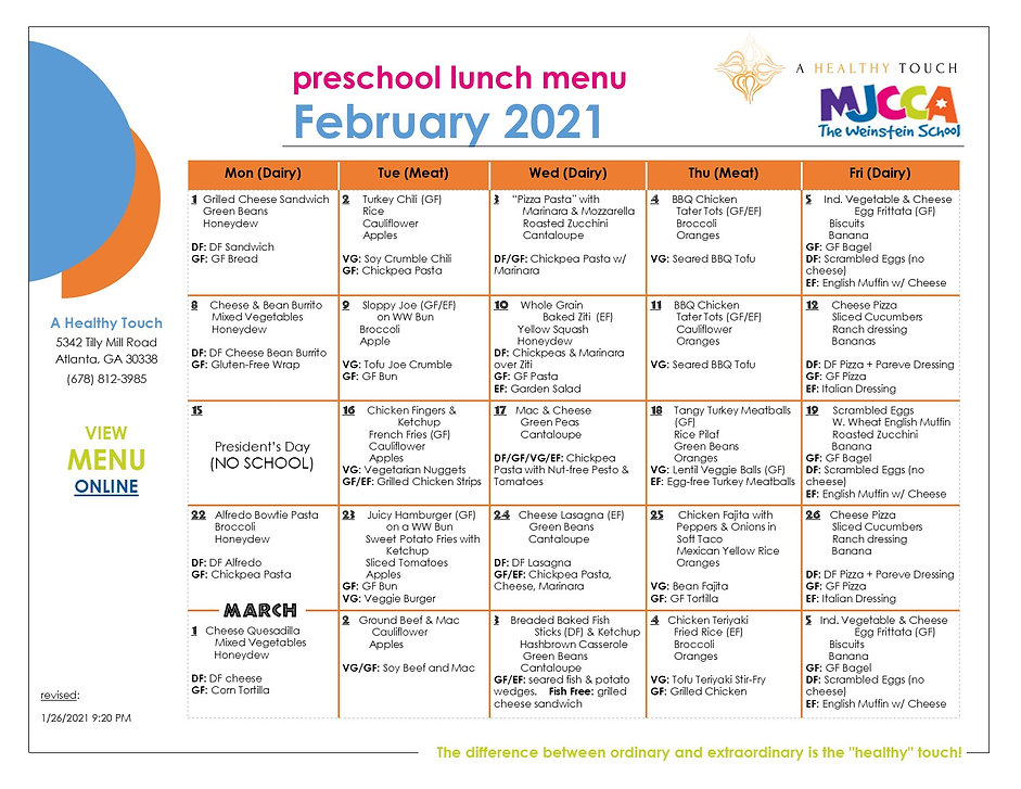 1. FEBRUARY 2021 - Preschool Lunch Menu.