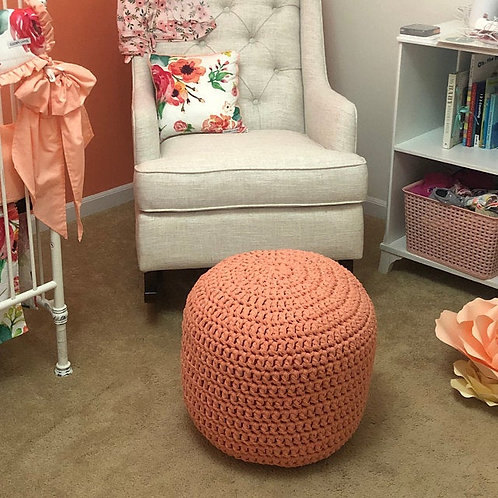 Coral Peach Knitted Round Pouffe - Nursery Ottoman