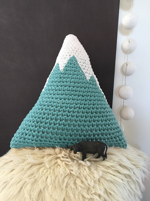 Large Crochet Snowy Mountain Pillow, Woodland Kids Toy, Nursery Accent Cushion