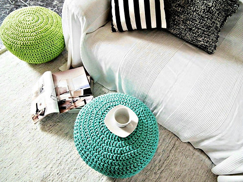 Aqua Blue Crochet Pouf Ottoman - Coastal Interior Decor