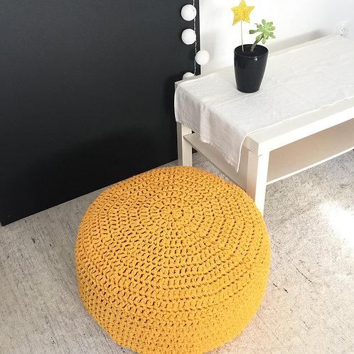 Mustard Yellow Round Ottoman Pouf