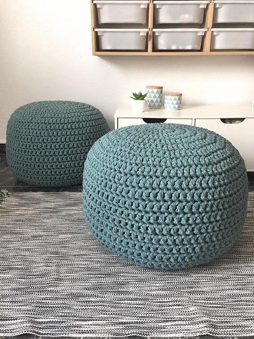 Teal Blue Crochet Pouf