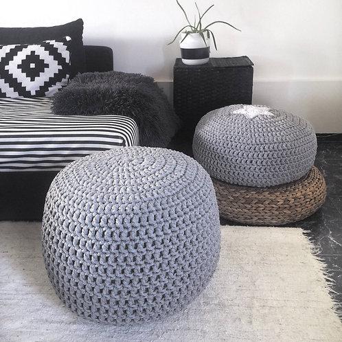 Grey Knit Round Pouf Ottoman