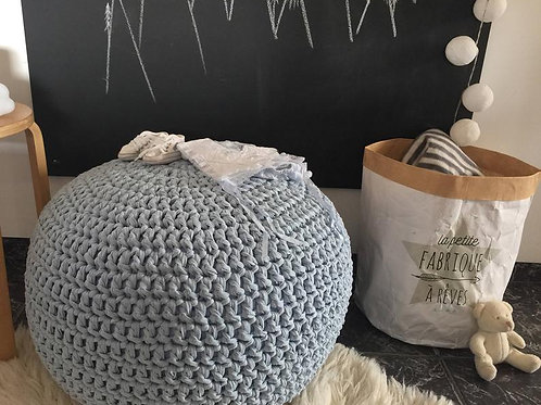 Powder Blue Nursery Pouf - Round Knit Ottoman