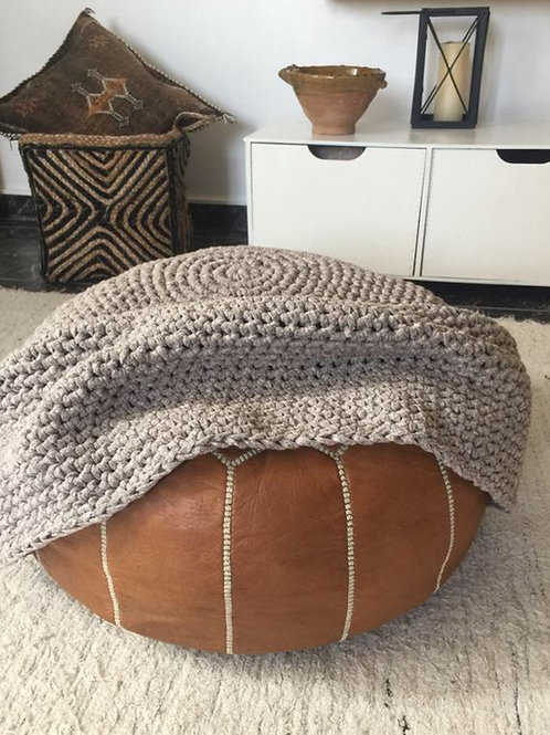 Crochet pouf Cover - Round Chunky Cotton Slipcover - Modern Ottoman Coverup