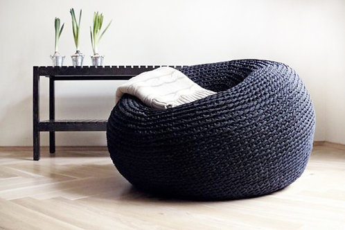 Extra Large Bean Bag Cocoon Pouf - Oversize Round Ottoman