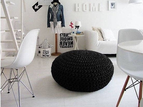 Modern Black Knit Pouffe