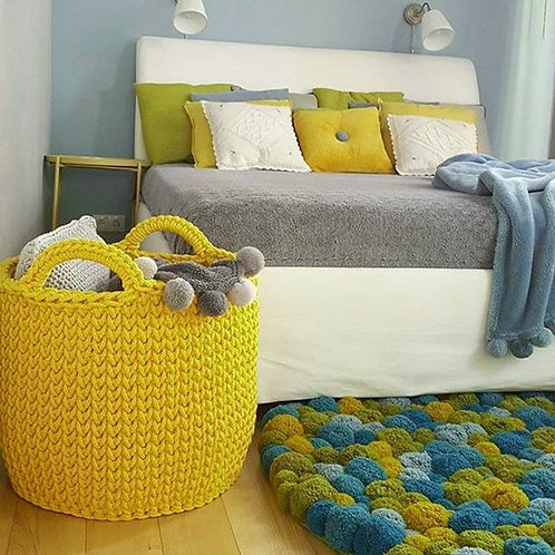 Large Yellow Crochet Basket - Bedroom Storage