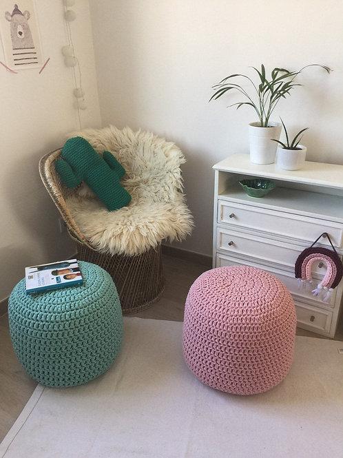Blush Pink Knit Pouf Ottoman