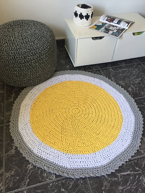 Yellow Crochet Round Rug - Soft Cotton Play Mat
