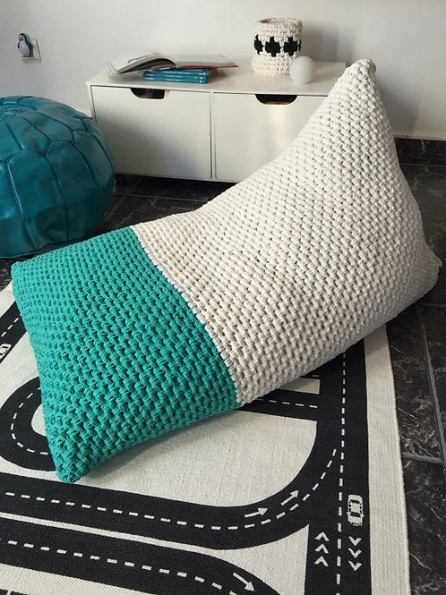 Kids Daybed Lounger Cushion - Hand Knit Bean Bag Chair
