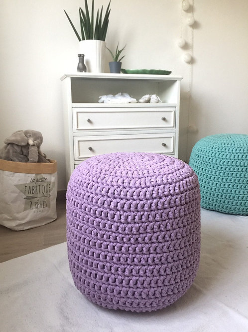 Lavender Girls Room Pouf - Round Knit Ottoman
