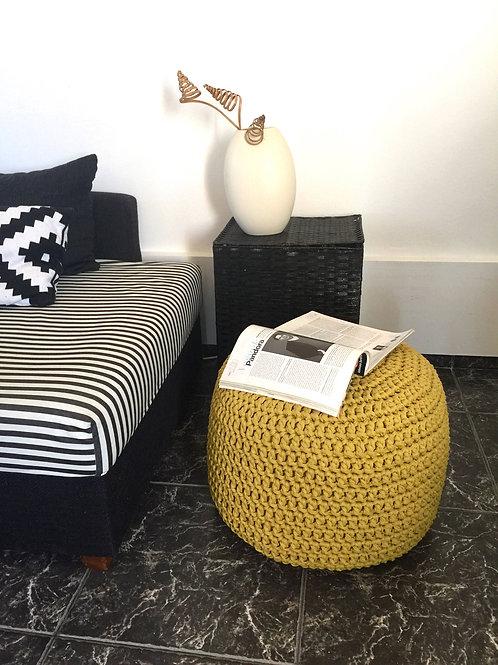 Spicy Mustard Knit Pouffe - Round Nursery Ottoman Footstool
