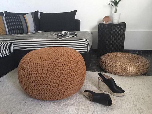 Camel Brown Crochet Pouf - Rustic Interior Decor