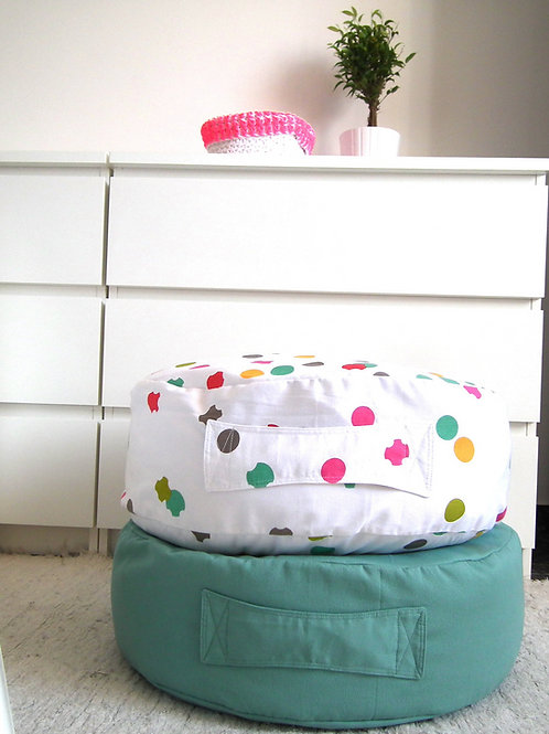 Cotton Canvas Floor Cushion - Modern Kids Room Seating Pouf
