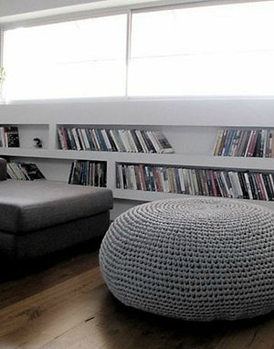 Giant Round Pouf Ottoman Coffee Table - Oversize Knitted Pouffe