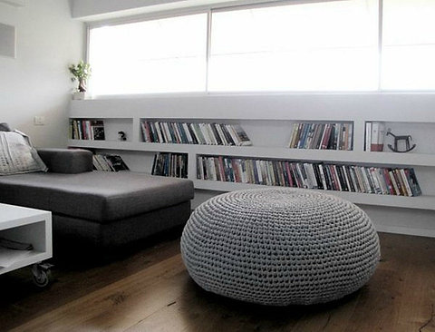 Giant Round Pouf Ottoman Coffee Table Oversize Knitted Pouffe