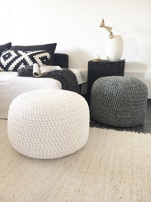 Large Knitted Pouf Ottoman