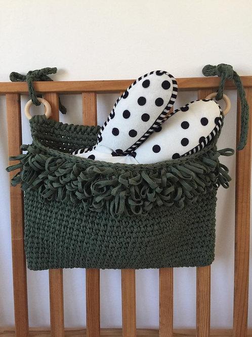 Dark Sage Crib Organizer Basket - Rustic Hanging Storage