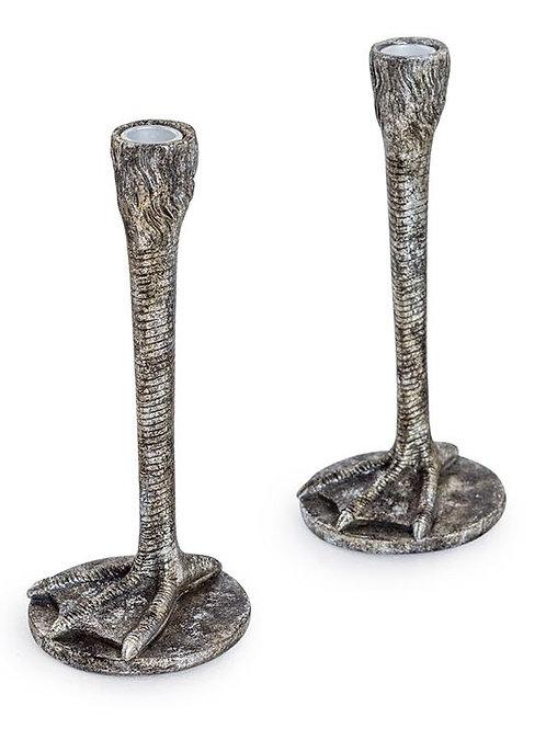 Bird Leg Candlesticks Silver