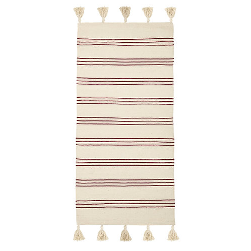 Natural Red Striped Cotton Rug