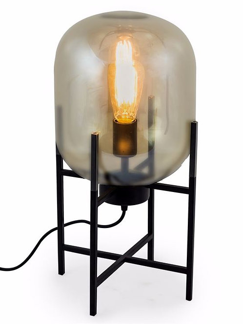 Gold Glass Edison Table Lamp on Black Stand