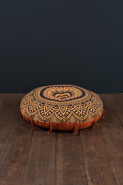 Round Pouffe With Hand-Stitching And Tassels