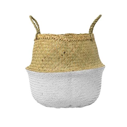 White & Natural Seagrass Basket