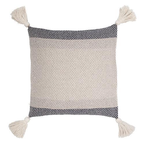 Blue and Cream Cotton Tassel Cushion