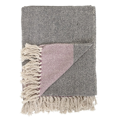 Grey & Rose Cotton Throw