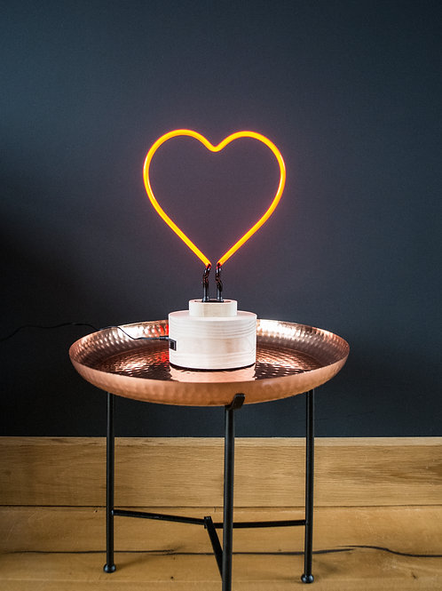 Neon Red Heart Table Lamp
