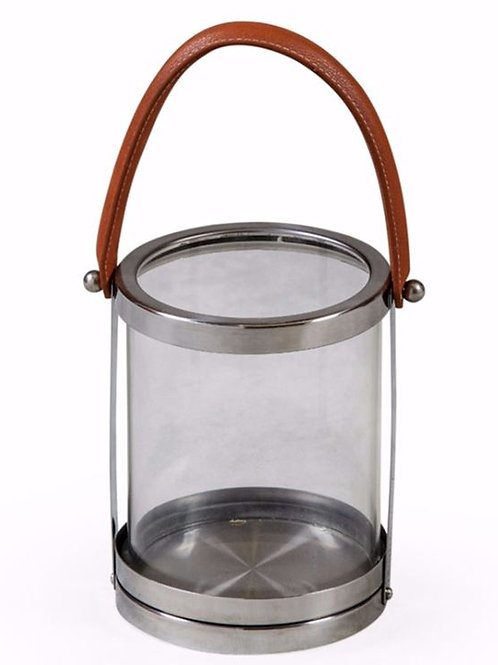 Round Glass and Stainless Steel Leather Handle Lantern