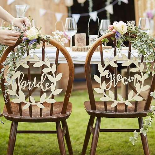 Wooden Bride & Groom Rustic Chair Signs