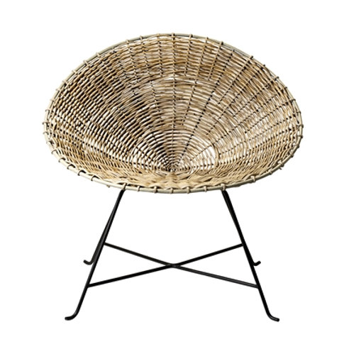 Rattan Chair on Black Iron Frame