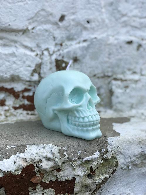 Pastel Blue Bubblegum Skull Candle