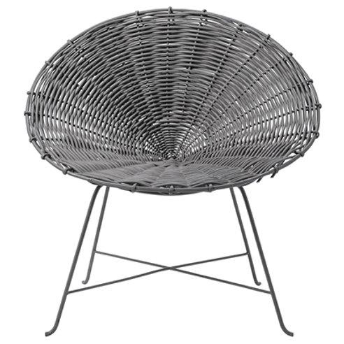 Grey Rattan Chair on Black Iron Frame