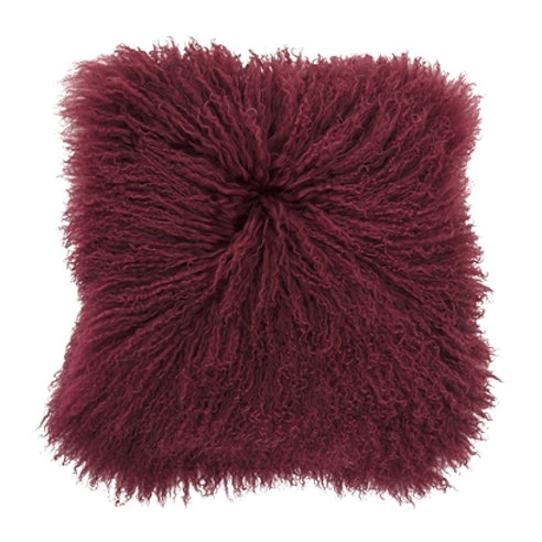 Red Mongolian Lambskin Cushion