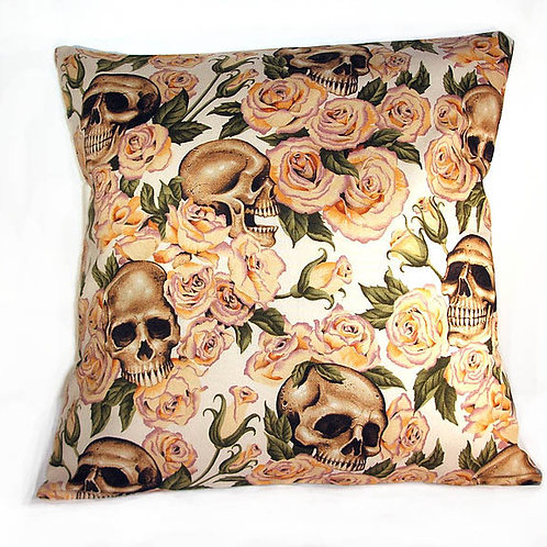 Skulls in Peach Roses Cushion
