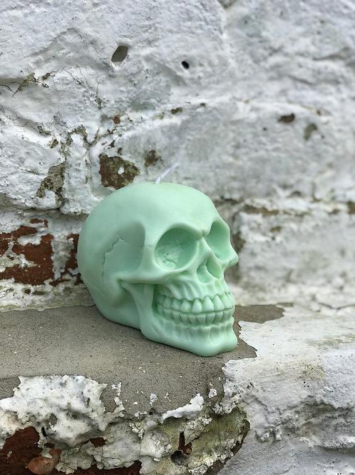 Pastel Green Spiced Apple & Cinnamon Skull Candle