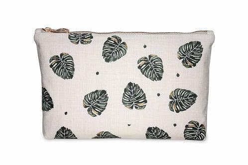 Elizabeth Scarlett Jungle Leaf Cotton Pouch Natural